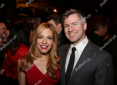 """From left, Leigh Ann Larkin and Director Tony Speciale pose during the party for the opening night performance of """"Harmony"""" at Center Theatre Group/Ahmanson Theatre, in Los Angeles, Calif"""