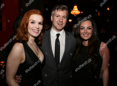 "From left, cast member Lauren Elaine Taylor, Director Tony Speciale and cast member Hannah Corneau pose during the party for the opening night performance of ""Harmony"" at Center Theatre Group/Ahmanson Theatre, in Los Angeles, Calif"