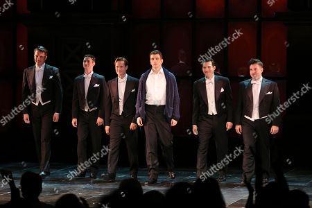 "From left, cast members Douglas Williams, Chris Dwan, Will Taylor, Shayne Kennon, Matt Bailey and Will Blum during the curtain call after the opening night performance of ""Harmony"" at Center Theatre Group/Ahmanson Theatre, in Los Angeles, Calif"