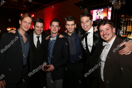 "From left, cast members Will Taylor, Matt Bailey, Chris Dwan, Shayne Kennon, Douglas Williams and Will Blum pose during the party for the opening night performance of ""Harmony"" at Center Theatre Group/Ahmanson Theatre, in Los Angeles, Calif"
