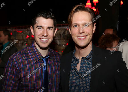 """From left, cast members Bryan Thomas Hunt and Will Taylor pose during the party for the opening night performance of """"Harmony"""" at Center Theatre Group/Ahmanson Theatre, in Los Angeles, Calif"""