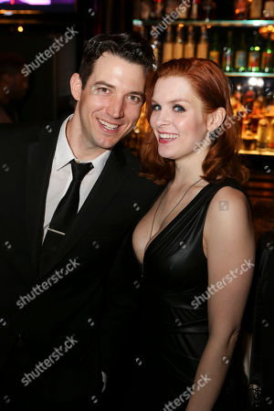 "From left, cast members Matt Bailey and Lauren Elaine Taylor pose during the party for the opening night performance of ""Harmony"" at Center Theatre Group/Ahmanson Theatre, in Los Angeles, Calif"