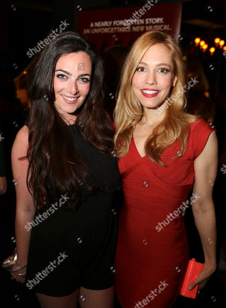 """Stock Photo of From left, cast members Hannah Corneau and Leigh Ann Larkin pose during the party for the opening night performance of """"Harmony"""" at Center Theatre Group/Ahmanson Theatre, in Los Angeles, Calif"""