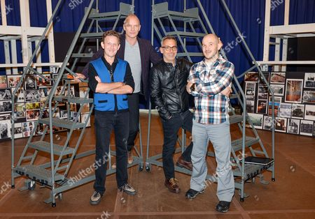 """Playwrights John Logan, left, and Sting, pose with director Joe Mantello and choreography by Steven Hoggett, right, at the rehearsals for """"The Last Ship"""" musical on in New York"""