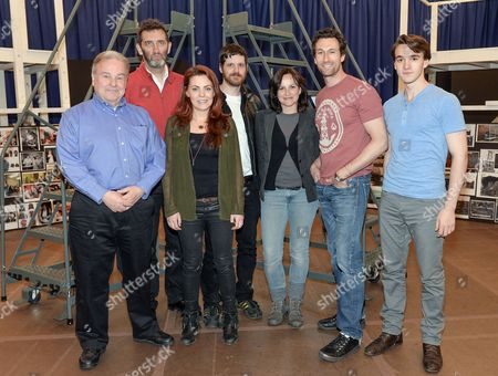 "Stock Image of Cast members, from left, Fred Applegate, Jimmy Nail, Rachel Tucker, Michael Esper, Sally Ann Triplett, Aaron Lazar and Collin Kelly-Sordelet participate in rehearsal for ""The Last Ship"" musical on in New York"