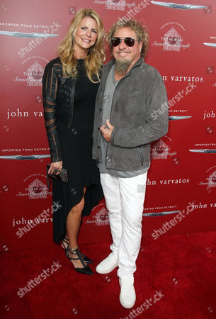Sammy Hagar, right, and Kari Hagar arrive at the 13th annual Stuart House benefit at John Varvatos Boutique, in West Hollywood, Calif