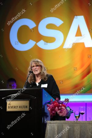 Stock Image of Ronnie Yeskel accepts her award during the Casting Society of America 29th Annual Artios Awards held at the Beverly Hilton Hotel, in Beverly Hills, Calif