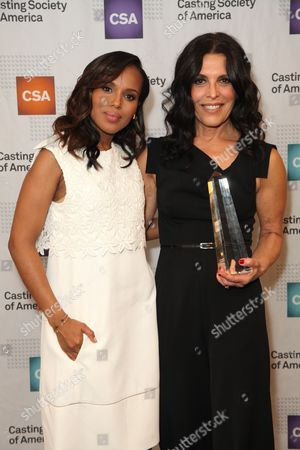 From left, actress Kerry Washington and Linda Lowy pose backstage during the Casting Society of America 29th Annual Artios Awards held at the Beverly Hilton Hotel, in Beverly Hills, Calif