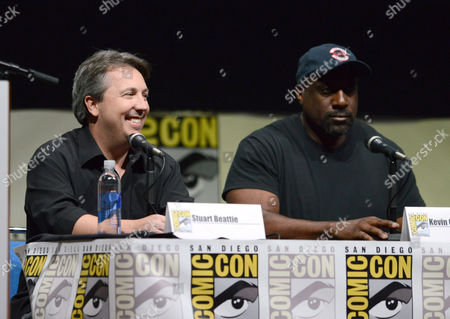 Stuart Beattie, left, and Kevin Grevioux attends the 'Bates Motel' panel on Day 4 of Comic-Con International on in San Diego