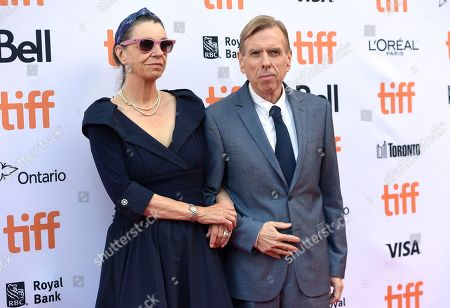 "Shane Spall, left, and Timothy Spall arrive at the ""Denial"" premiere on day 4 of the Toronto International Film Festival at the Princess of Wales Theatre, in Toronto"