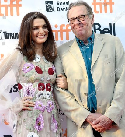 """Rachel Weisz, left, and Tom Wilkinson arrive at the """"Denial"""" premiere on day 4 of the Toronto International Film Festival at the Princess of Wales Theatre, in Toronto"""