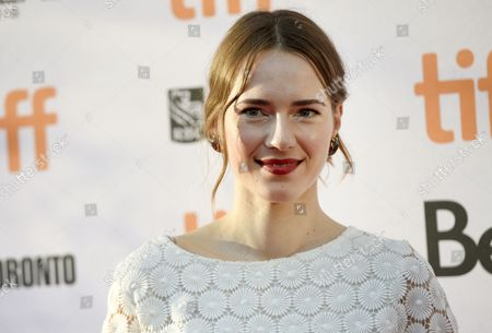 """Caren Pistorius arrives at the """"Denial"""" premiere on day 4 of the Toronto International Film Festival at the Princess of Wales Theatre, in Toronto"""