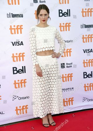 """Stock Image of Caren Pistorius arrives at the """"Denial"""" premiere on day 4 of the Toronto International Film Festival at the Princess of Wales Theatre, in Toronto"""