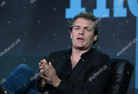 """Stock Image of Series producer Huw Cordey participates in a panel for """"The Hunt"""" during the BBC America 2016 Winter TCA, in Pasadena, Calif"""