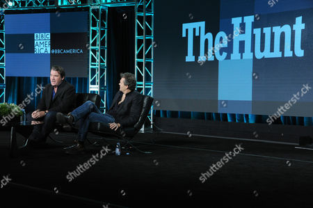 """Stock Picture of Executive producer Alastair Fothergill, and series producer Huw Cordey participates in a panel for """"The Hunt"""" during the BBC America 2016 Winter TCA, in Pasadena, Calif"""