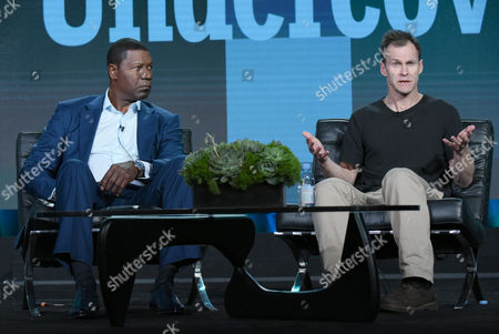 """Stock Image of Dennis Haysbert, left, and creator Peter Moffat participate in a panel for """"Undercover"""" during the BBC America 2016 Winter TCA, in Pasadena, Calif"""
