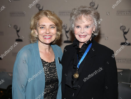 Stock Photo of From left, Academy VP of Marketing Laurel Whitcomb, and actress June Lockhart are seen at the 65th Primetime Emmy Engineering Awards,, at Loews Hollywood Hotel, in Hollywood, Calif