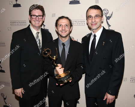 From left, Bob Bronow, CEO of iZotope Mark Ethier, and Academy Committee member Frank Morrone are seen at the 65th Primetime Emmy Engineering Awards,, at Loews Hollywood Hotel, in Hollywood, Calif
