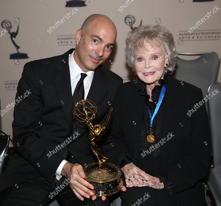 Engineering Emmy Award Recipient John C. Kline, right, and actress June Lockhart are seen at the 65th Primetime Emmy Engineering Awards,, at Loews Hollywood Hotel, in Hollywood, Calif