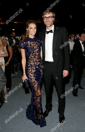 Christine Marzano, left, and Stephen Merchant attend the Governors Ball for the 67th Primetime Emmy Awards at the Los Angeles Convention Center, in Los Angeles