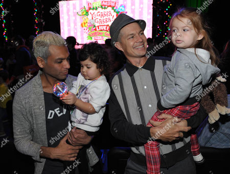 From left, Tony Kanal, Coco Reese Lakshmi Kanal, Adrian Young, and Magnolia Renee Young are seen at A Very Awesome Yo Gabba Gabba! Live! Holiday Show, on at Nokia Theater, L.A. Live in Los Angeles