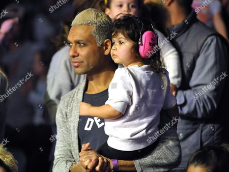 Tony Kanal, left, and daughter Coco Reese Lakshmi Kanal are seen at A Very Awesome Yo Gabba Gabba! Live! Holiday Show, on at Nokia Theater, L.A. Live in Los Angeles