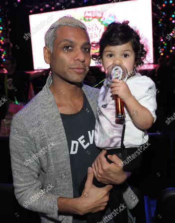 Stock Image of Tony Kanal, left, and daughter Coco Reese Lakshmi Kanal are seen at A Very Awesome Yo Gabba Gabba! Live! Holiday Show, on at Nokia Theater, L.A. Live in Los Angeles