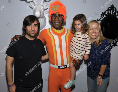 From left, Jason Schwartzman is seen with DJ Lance Rock, daughter Marlowe Rivers Schwartzman, and wife Brady Cunningham at A Very Awesome Yo Gabba Gabba! Live! Holiday Show, on at Nokia Theater, L.A. Live in Los Angeles