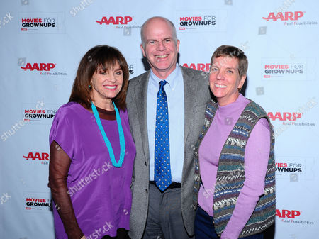 Valerie Harper, and from left, Movies For Grownups host Bill Newcott and Cindy Abbott arrive at the AARP Movies for Grownups Film Showcase at Regal Cinemas L.A. LIVE on in Los Angeles