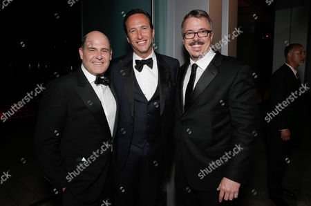 Stock Image of Mathew Weiner, and from left, Charlie Collier, President and General Manager, -AMC, and Vince Gilligan seen at the AMC/IFC Emmy After Party, in West Hollywood, Calif