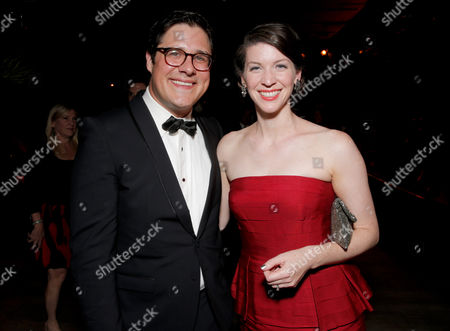 Rich Sommer and Virginia Donohoe seen at the AMC/IFC Emmy After Party, in West Hollywood, Calif