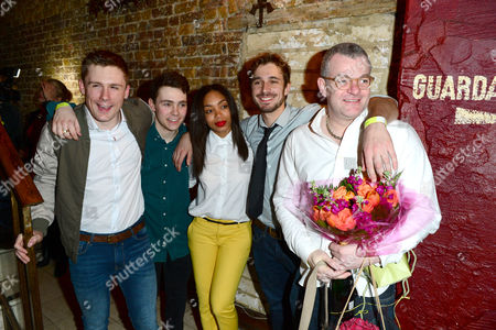 Danny-boy Hatchard, Jake Davies, Zaraah Abrahams and Oliver Farnworth, Jonathan Harvey are seen at a press night for Beautiful Thing at the Arts Theate in London on