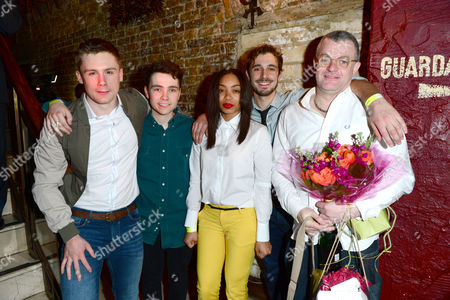 Stock Picture of Danny-boy Hatchard, Jake Davies, Zaraah Abrahams and Oliver Farnworth, Jonathan Harvey are seen at a press night for Beautiful Thing at the Arts Theate in London on