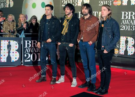 From left, Pete Robertson, Justin Young, Freddie Cowan and Arni Hjorvar of British band The Vaccines seen arriving at the BRIT Awards 2013 at the o2 Arena, in London