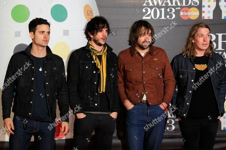Stock Image of From left, Pete Robertson, Justin Young, Freddie Cowan and Arni Hjorvar of British band The Vaccines seen arriving at the BRIT Awards 2013 at the o2 Arena, in London