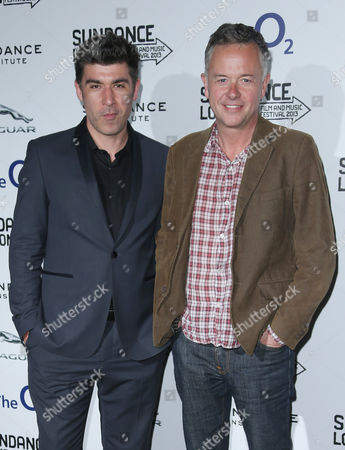 Director Michael Winterbottom, right and James Lance arrive for the screening of The Look of Love as part of the Sundance Film Festival in the UK, at the o2 Arena in east London