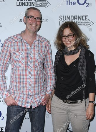 Stock Photo of Director Andy Heathcote and Heike Bachelieras arrive for a screening of The Moo Man as part of the Sundance Film Festival in the UK, at the o2 Arena in east London