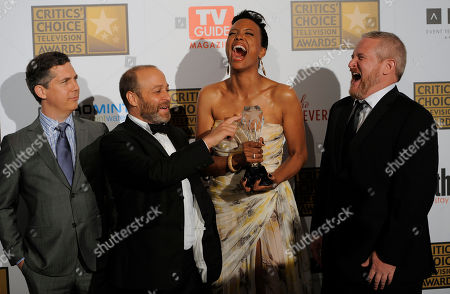 "From left, Chris Parnell, H. Jon Benjamin, Aisha Tyler and Adam Reed pose backstage with the award for best animated series for ""Archer"" at the 2nd Annual Critics' Choice Television Awards at the Beverly Hilton Hotel on in Beverly Hills, Calif"