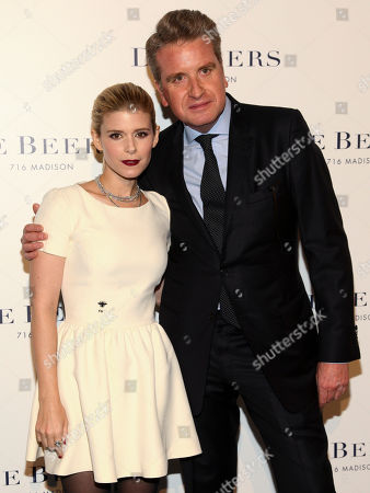 Kate Mara, left, and Francois Delage, right, attend the De Beers flagship store opening on Madison Avenue, in New York