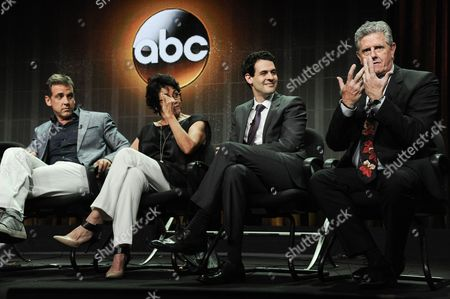 "From left, Carlos Ponce, Terri Hoyos, and Sam McMurray speak onstage during the ""Cristela"" panel at the Disney/ABC Television Group 2014 Summer TCA at the Beverly Hilton Hotel, in Beverly Hills, Calif"