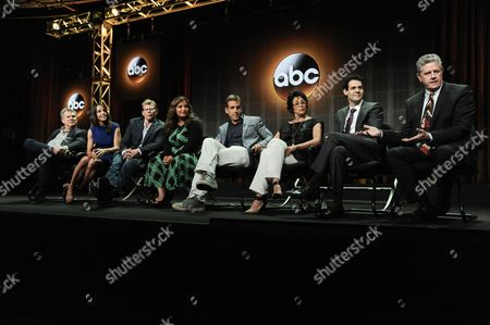 "From left, Marty Aldelstein, Becky Clements, Kevin Hench, Cristela Alonzo, Carlos Ponce, Terri Hoyos, and Sam McMurray speak onstage during the ""Cristela"" panel at the Disney/ABC Television Group 2014 Summer TCA at the Beverly Hilton Hotel, in Beverly Hills, Calif"