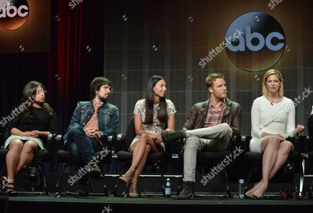 From left, Chloe Wepper, Nicolas Wright, Jade Catta-Preta, Jake McDorman and Analeigh Tipton speak on stage during the 'Manhattan Love Story'' panel at the Disney/ABC Television Group 2014 Summer TCA at the Beverly Hilton Hotel, in Beverly Hills, Calif