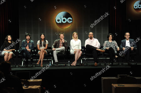 From left, Chloe Wepper, Nicolas Wright, Jade Catta-Preta, Jake McDorman, Analeigh Tipton, Jeff Lowell, Robin Schwartz and Peter Traugott during the 'Manhattan Love Story' panel at the Disney/ABC Television Group 2014 Summer TCA at the Beverly Hilton Hotel, in Beverly Hills, Calif