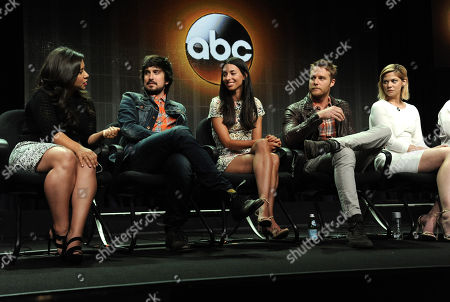 "From left, Chloe Wepper, Nicolas Wright, Jade Catta-Preta, Jake McDorman and Analeigh Tipton during the ""Manhattan Love Story"" panel at the Disney/ABC Television Group 2014 Summer TCA at the Beverly Hilton Hotel, in Beverly Hills, Calif"