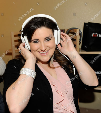 Actress KayCee Stroh wears Inspiration headphones by Monster at the Fender Music lodge during the Sundance Film Festival, in Park City, Utah
