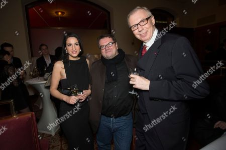 From left, Minu Barati-Fischer, Alfred Holighaus and Ludger Pistor attend The Hollywood Reporter party held at Borchardt's Restaurant to celebrate the 2014 Berlin International Film Festival with Studio Babelsberg and Audi,, in Berlin