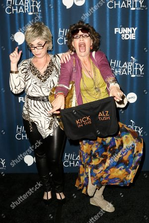 Jessica Chaffin (as 'Ronna Glickman'), left, and Jamie Denbo (as 'Beverly Kahn') attend Hilarity for Charity's Annual Variety Show: James Franco's Bar Mitzvah held at The Hollywood Palladium, in Los Angeles