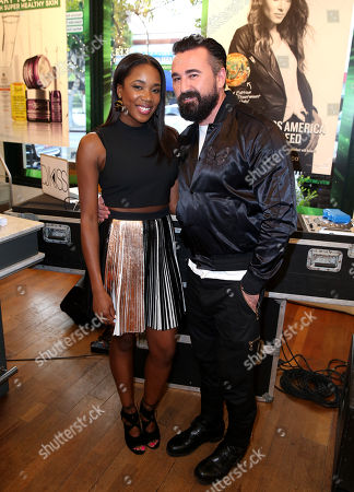 DJ Kiss, left, and President of Kiehl's U.S. Chris Salgardo attend the Kiehlâ?™s Earth Day Celebration with Nikki Reed to Benefit Recycle Across America at Kiehl's Since 1851 on in Santa Monica, Calif