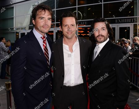 """Stock Photo of From left to right, actor Matthew Settle, actor Ross McCall, and writer Frank John Hughes arrive on the red carpet at the premiere of the feature film """"Dark Tourist"""" at the ArcLight Cinemas on in Los Angeles"""