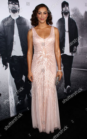 """Elena Goode arrives at the Los Angeles premiere of """"Straight Outta Compton"""" at the Microsoft Theater on"""